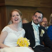 Birstall church wedding laughing bride