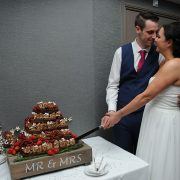 wedding cake, stack of chocolate brownies, mr and mrs, Leicester, wedding photographer