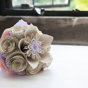 hand-made paper bridal bouquet stunning window pastel colours