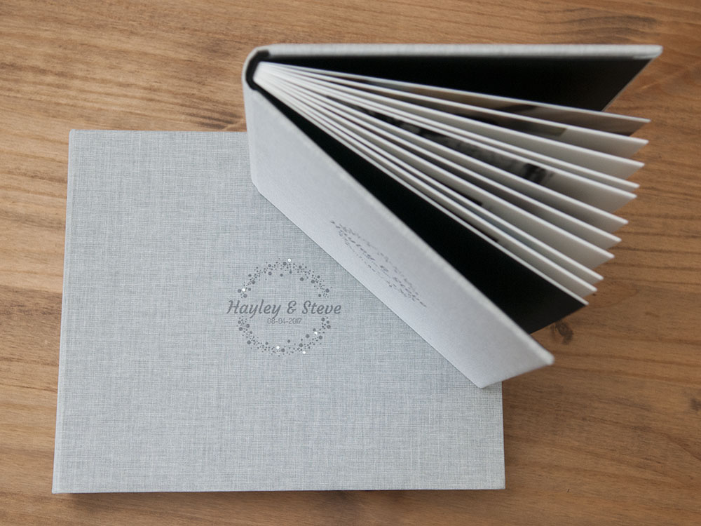 grey texture photograph album, Leicestershire wedding photography