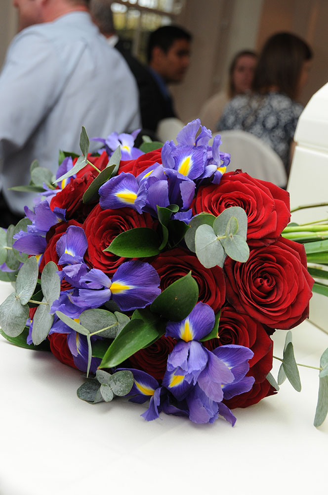 bridal bouquet leicestershire red roses iris