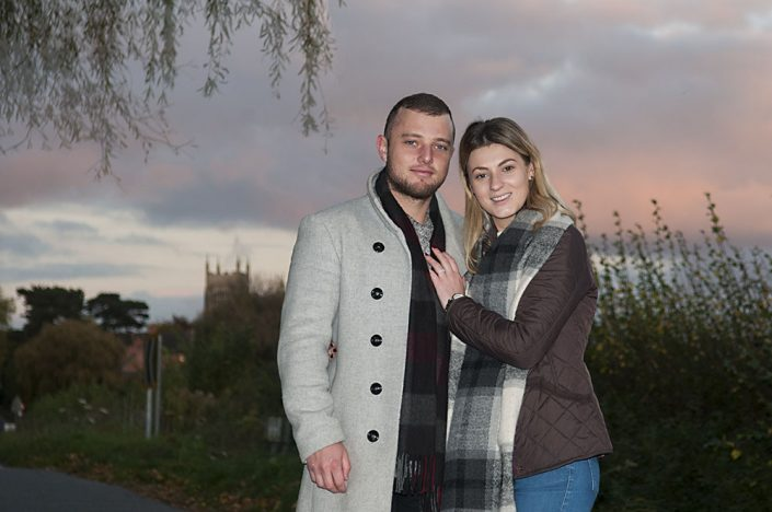 engagement photoshoot, sunset, Sileby, Leicestershire, wedding photography, winter photoshoot outfit