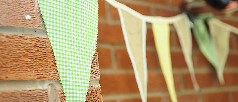 spring wedding decoration, home made gingham bunting