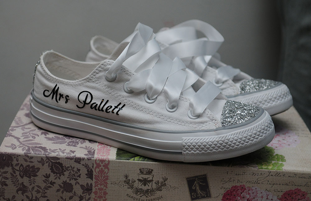 wedding day shoes, bride in converse, blinged up, glittery sneaker, Rothley Court Hotel