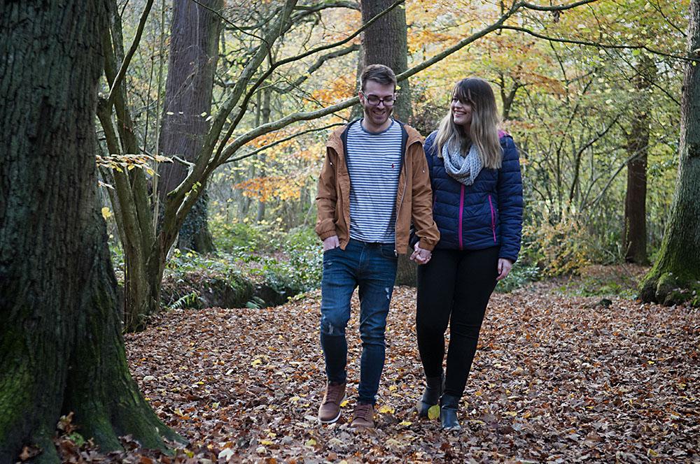 Swithland Woods in Autumn couple walk, engagement photoshoot
