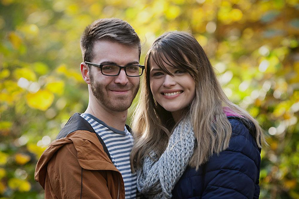 engaged couple autumn Swithland Woods, Leicestershire Wedding photographer