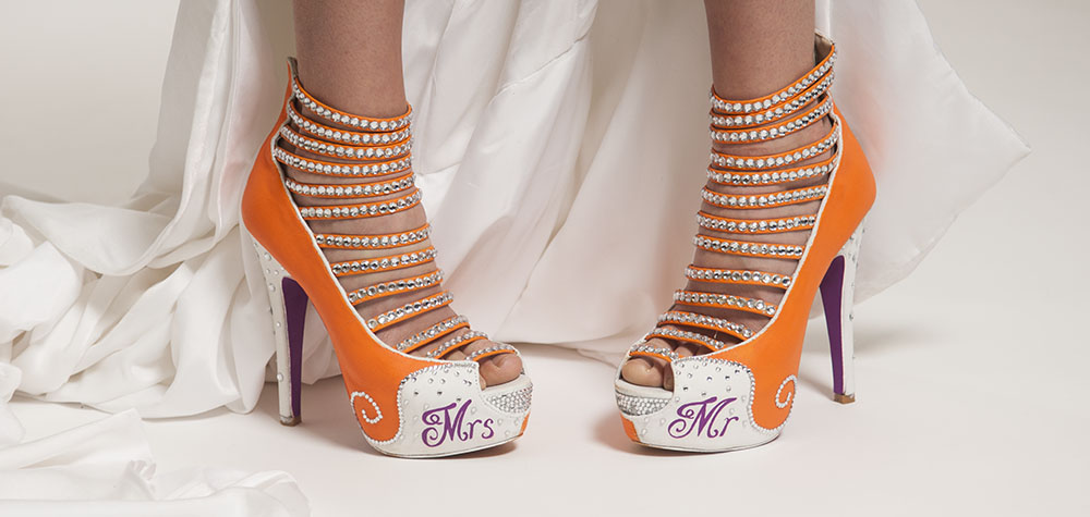 bespoke bridal shoe, bright and colourful, with jewels and writing, Leicestershire