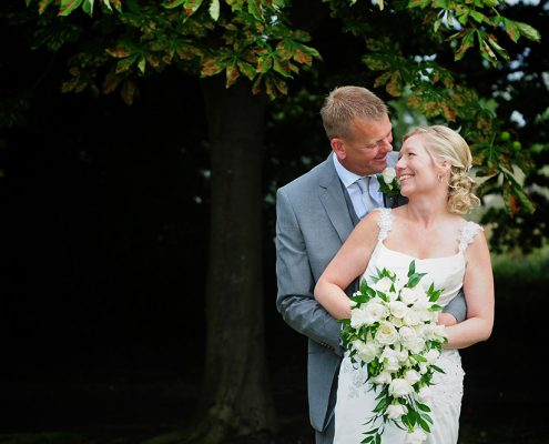 plan a wedding in under 6 months, loving gaze between bride and groom on their wedding day at Anstey House, Glenfield, Leicestershire wedding photography