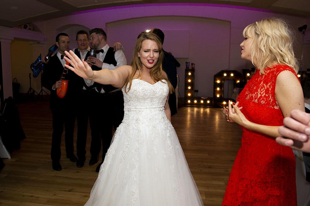 Leicester wedding, bride dancing, red lipstick, dance floor
