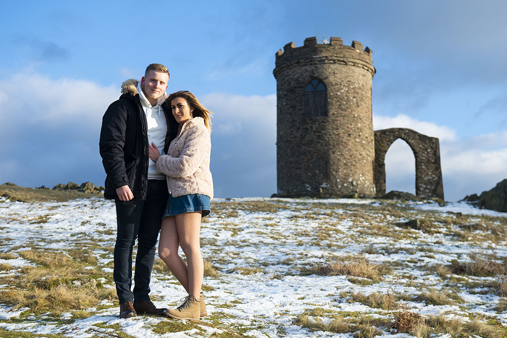 old john, bradgate park, leicester, leicestershire, anstey, engagement photoshoot, engaged couple in snow