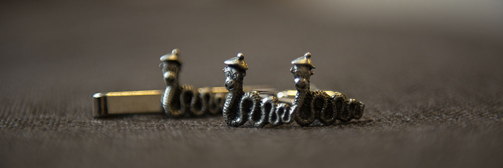 loch ness monster tie pin and cufflinks for leicester wedding groom photography