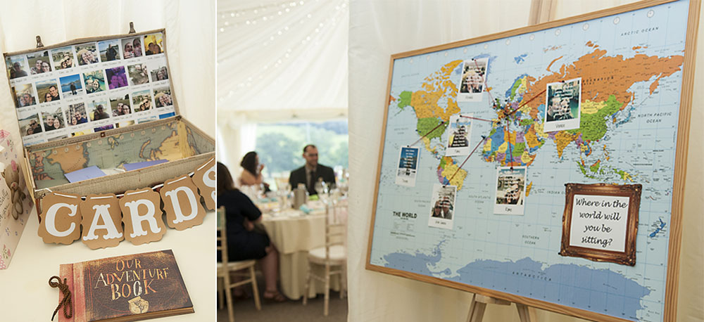 leicester wedding photography table plan travelling couple map suitcase