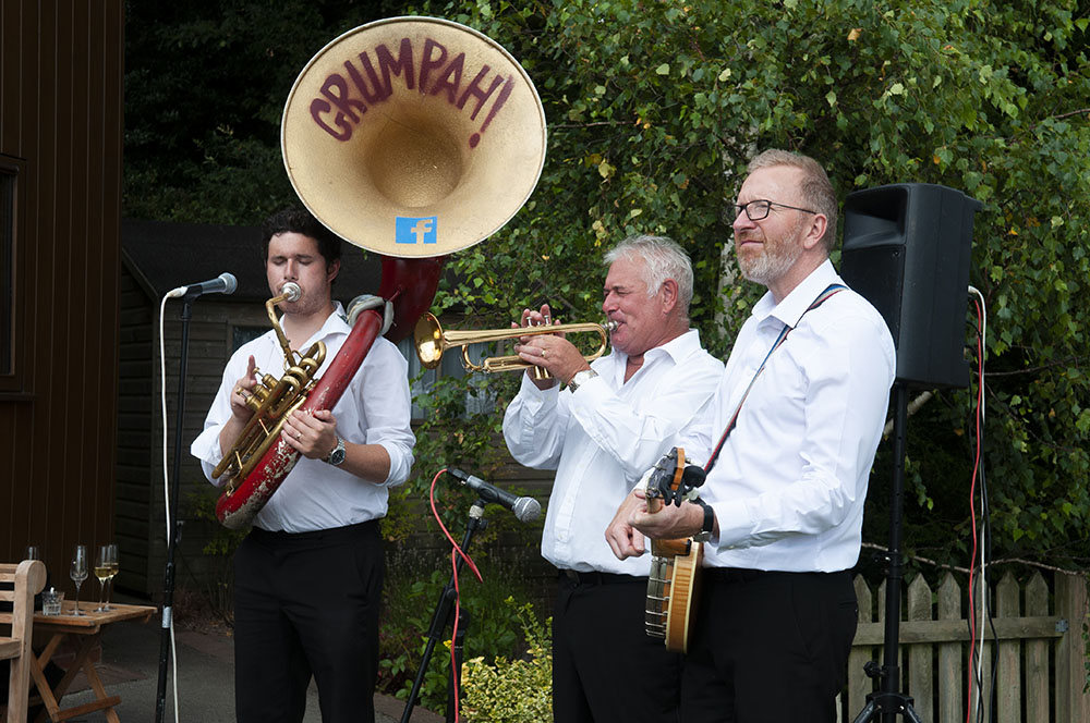 grumpah, oompah band play at leicester wedding photographer Rachael Ince Rose Tinted Photos