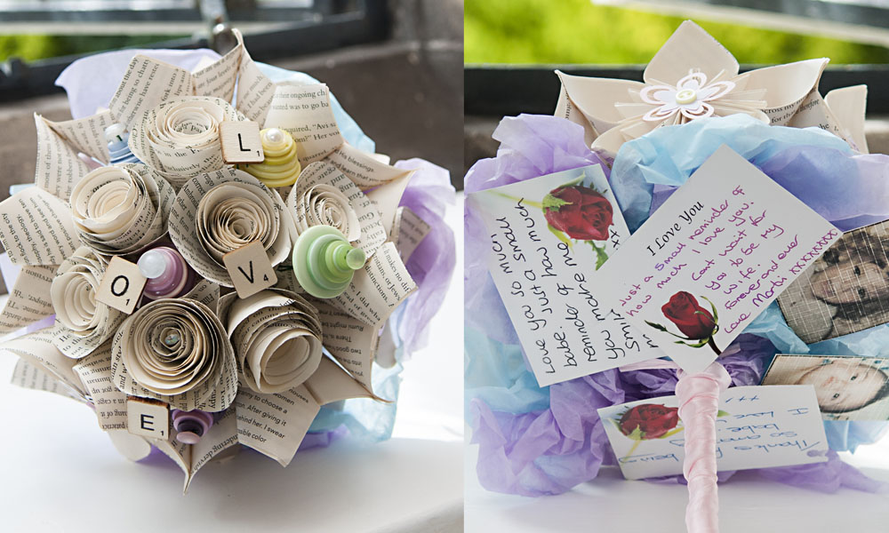 home made bridal bouquet paper roses buttons, love letters,  wedding photography leicester, rose tinted photos