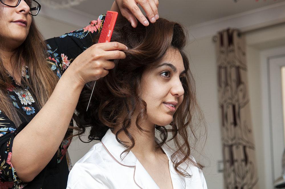 bride having hair done leicestershire wedding photographer