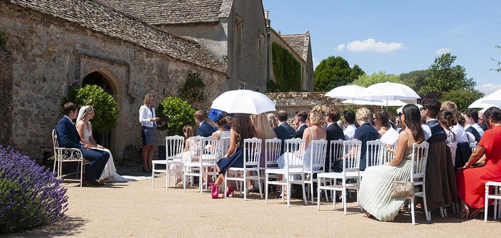 outdoor wedding ceremony bright sunshine blue sky civil wedding ceremony