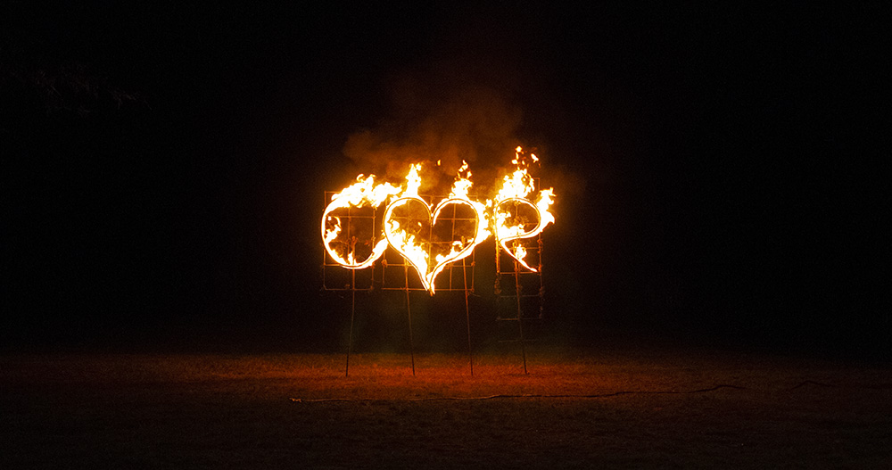 leicester wedding firework display photographer love hear and initials on fire